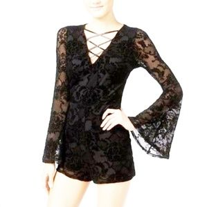 Woman's sexy sheer black romper short size XL H25